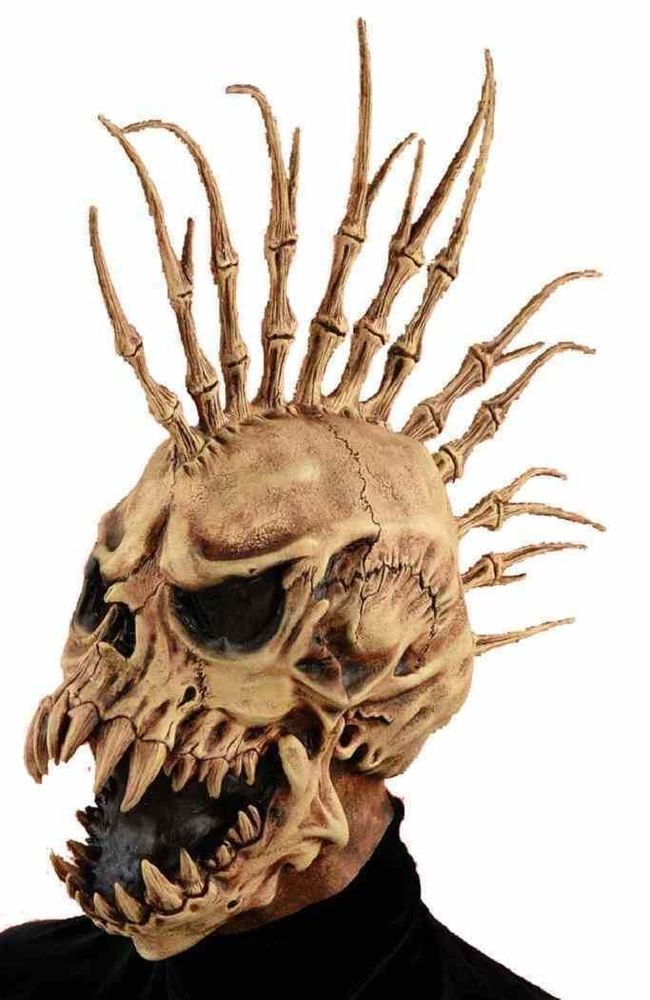 scary creepy sinister fin skull adult halloween mohawk costume party mask prop