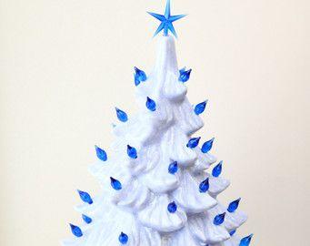 Ceramic Christmas Tree Hand Painted with Blue by MnMCustomCeramics
