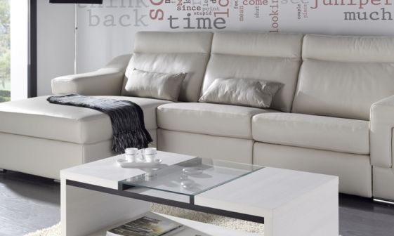 VESTA Mesa de centro en acabado glacial y gris. Medida: 110x40cm. > http://www.mymobel.com/muebles-auxiliares-y-complementos-p685/vesta