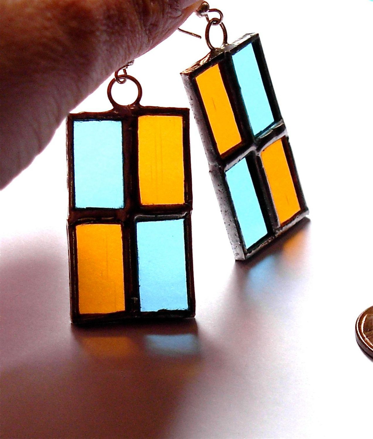 blue and orange stained glass earrings by laurapadoan on Etsy