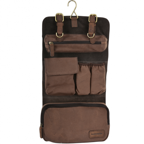Mens Leather Canvas Hanging Toiletry Bag Mud 7010 Bags