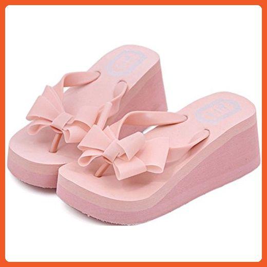 6eecfd8502a9d Women Bowknot Thong High Heel Beach Sandals Shoes (US 7, Pink ...
