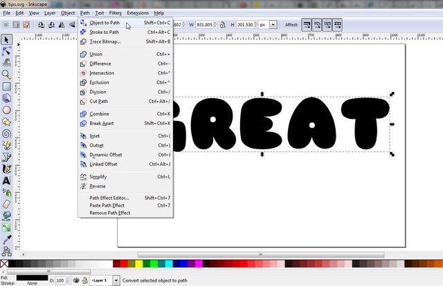 Inkscape Convert Text To Paths To Make Templates For