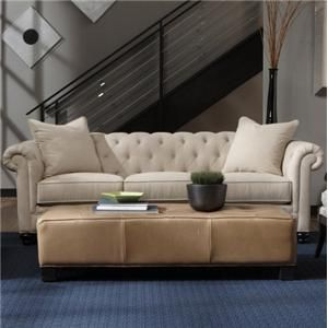 Traditional Button Tufted Rolled Arm Stationary Sofa By