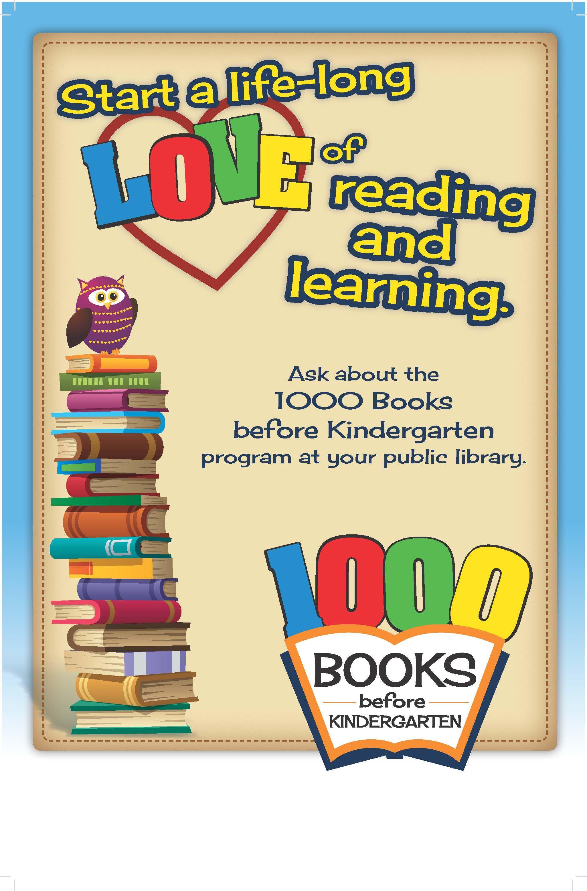 1000 books before kindergarten initiative poster developed