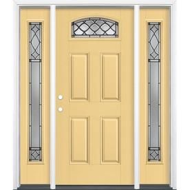 Masonite Sheldon 1 4 Lite Decorative Glass Right Hand Inswing Cabana Yellow Painted Fiberglass Prehung Entry D Entry Door With Sidelights Reliabilt Entry Doors