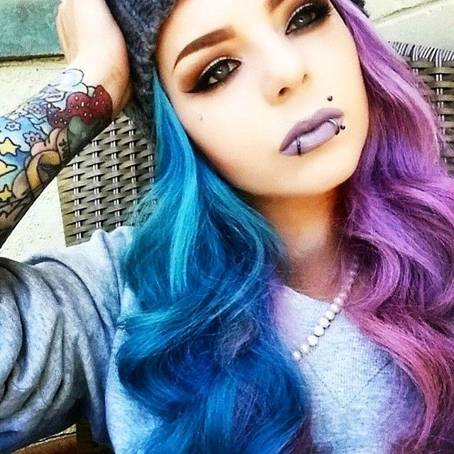 Half Blue Half Purple Hair Split Dyed Hair Hair Color Crazy