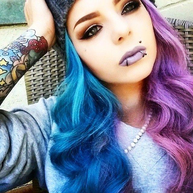 Alyssa Rivera On Instagram Halfdyedhair Bluehair Purplehair Dopehair Coolhair Coloredhair Dollswit Split Dyed Hair Hair Color Crazy Half And Half Hair