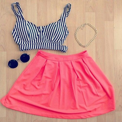 Cute stripe crop top and pink skater skirt!