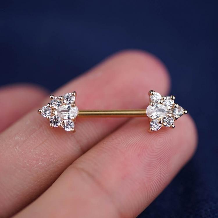 1 Piece Triangle Zircon Nipple Ring Nipple Barbells Nipple Jewelry ...