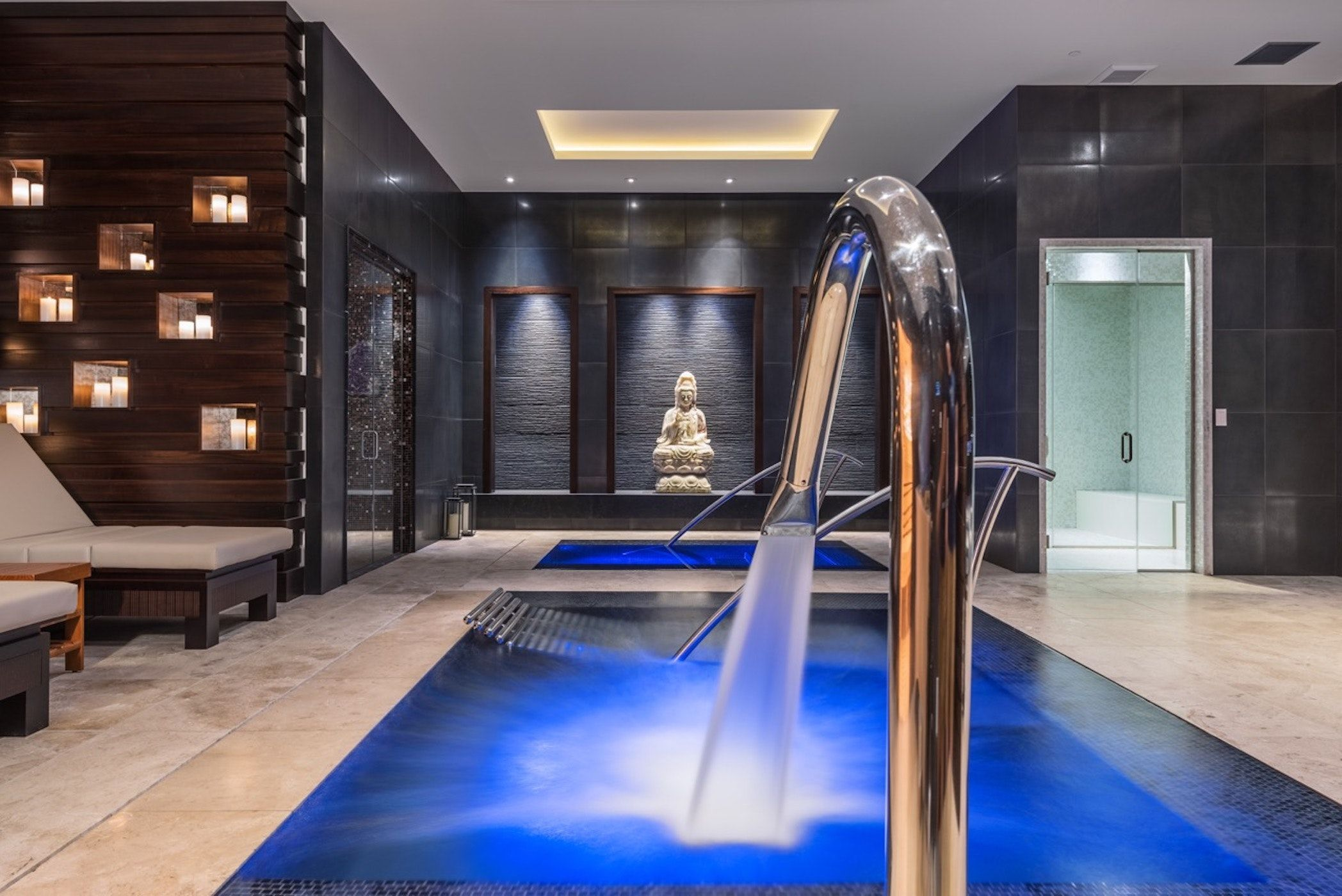 A Resort Worthy Spa With Jacuzzi Pool Cold Plunge Experience Shower And Sauna By Drewett Works Architecture Home Custom Home Builders