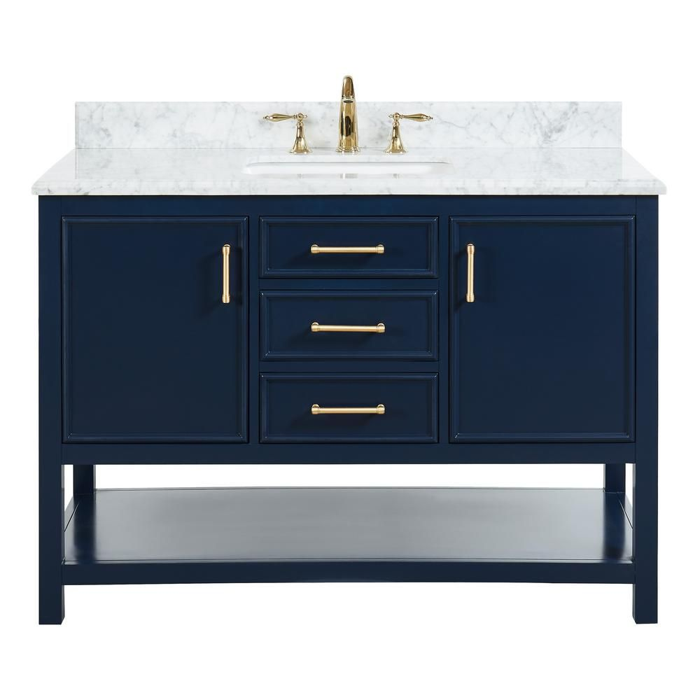 Tile Top Uptown 48 In W X 22 In D X 34 75 In H Bath Vanity In Navy Blue With Marble Vanity Top In White With White Basin Th0544 The Home Depot In