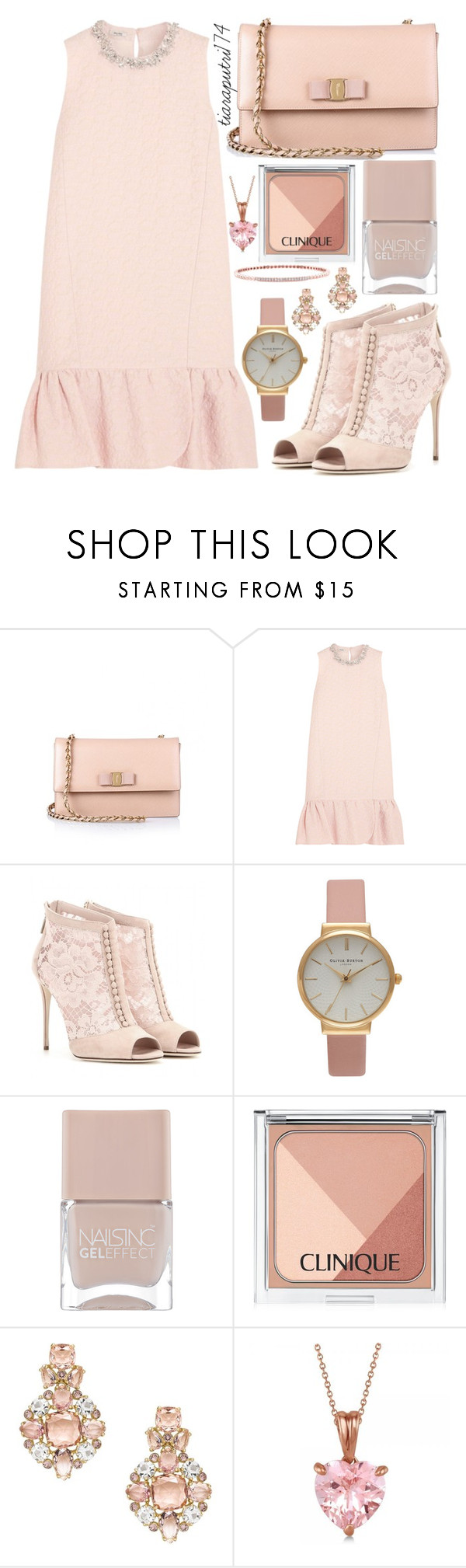 """Untitled #37"" by tiaranrnd ❤ liked on Polyvore featuring Salvatore Ferragamo, Miu Miu, Dolce&Gabbana, Olivia Burton, Nails Inc., Clinique, Kate Spade and Allurez"