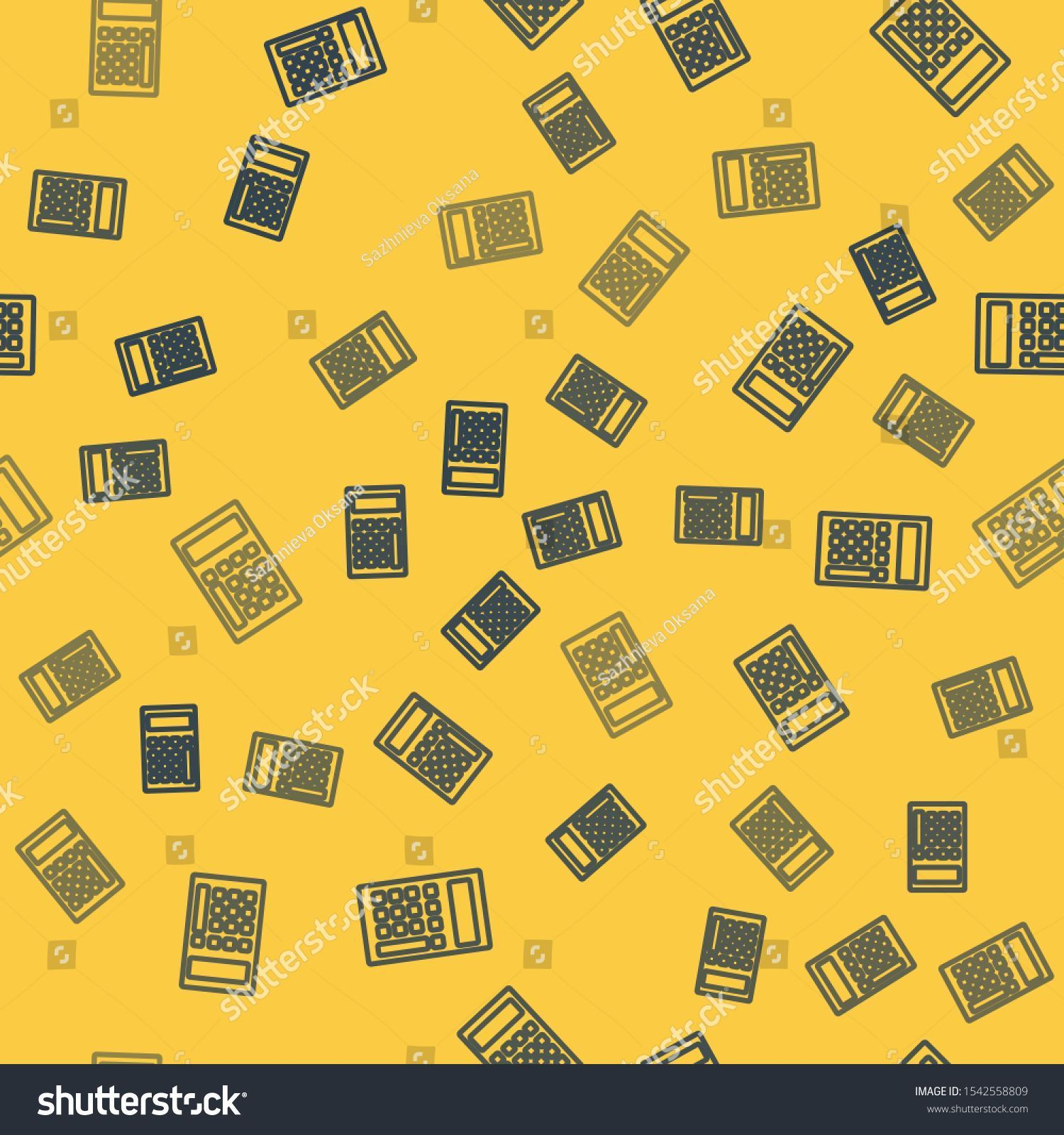 Blue Line Calculator Icon Isolated Seamless Pattern On