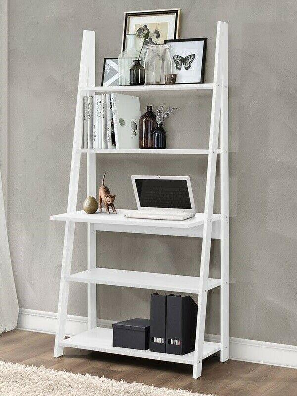 Ladder Desk Writing Computer Pc Table Leaning Bookcase Shelving Shelf Unit White Shelves Ladder Desk Home Decor