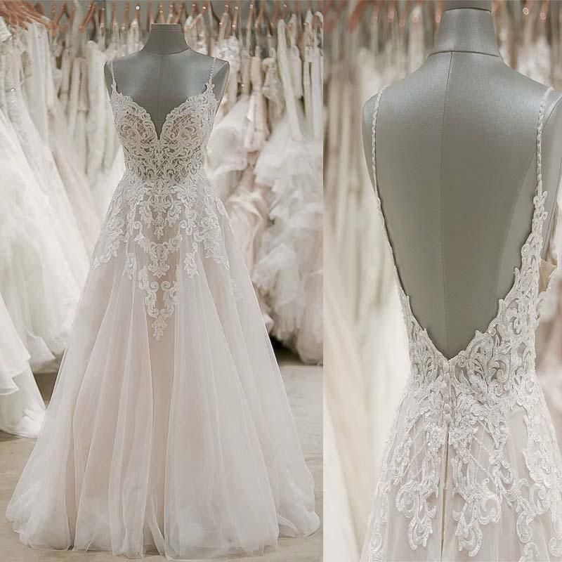 Photo of Spaghetti Straps Open Back Long A-Line Tulle Wedding Dresses With Lace Appliques, Wedding Dre…