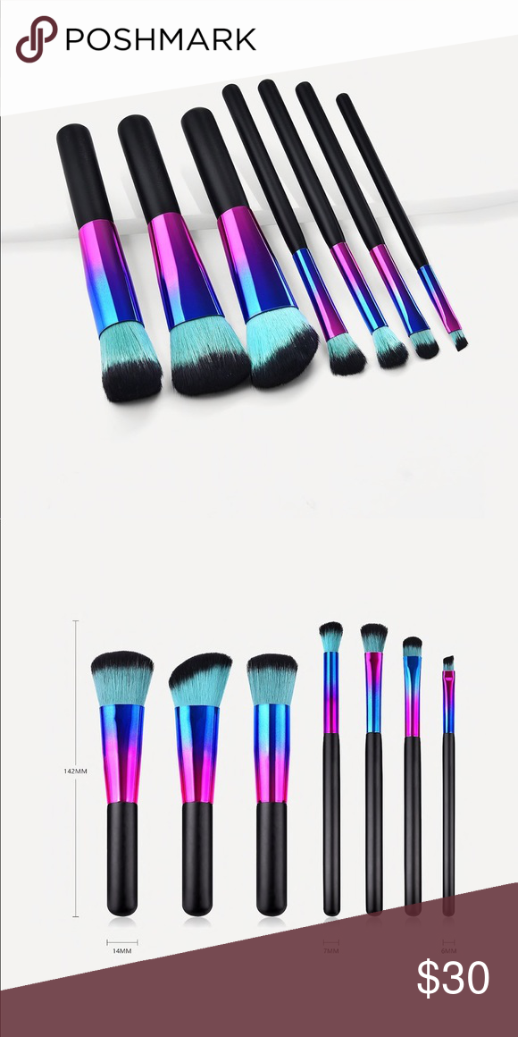 Blue and Black Ombré Makeup Brushes Set of 7 Boutique