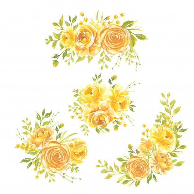 Conjunto De Flores De Acuarela Ilustracion Floral Pintada A Mano Ramo De Flores Rosa Amarilla Vector Pr Ilustraciones Florales Flores Acuarela Pintura Floral
