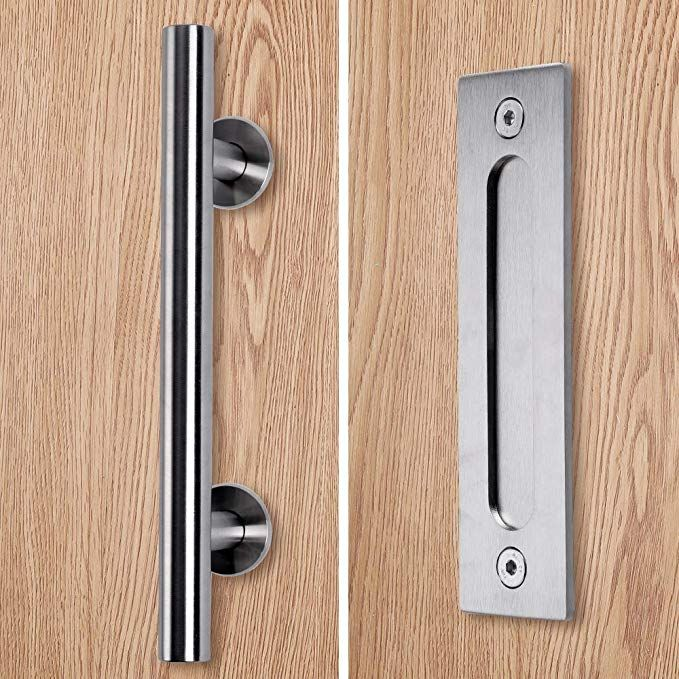 Running Stainless Barn Door Pull Handle Set Stainless 12 Inch Round Heavy Duty Solid 304 Stainless Gate Handle Door Handles Door Pull Handles Door Handle Diy