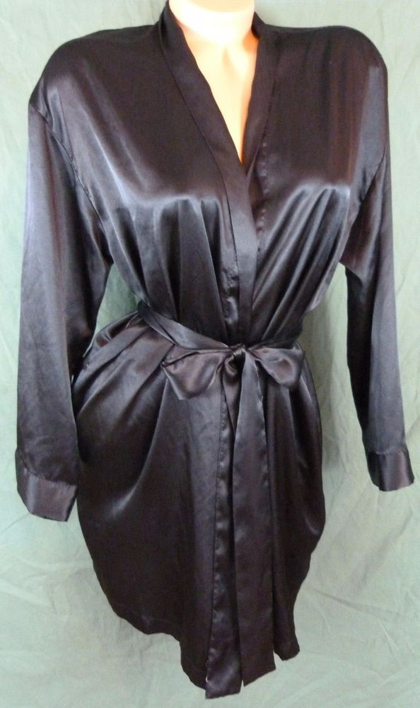 Victorias Secret Black Short Robe Soft Silky Satin One Size Attached ...