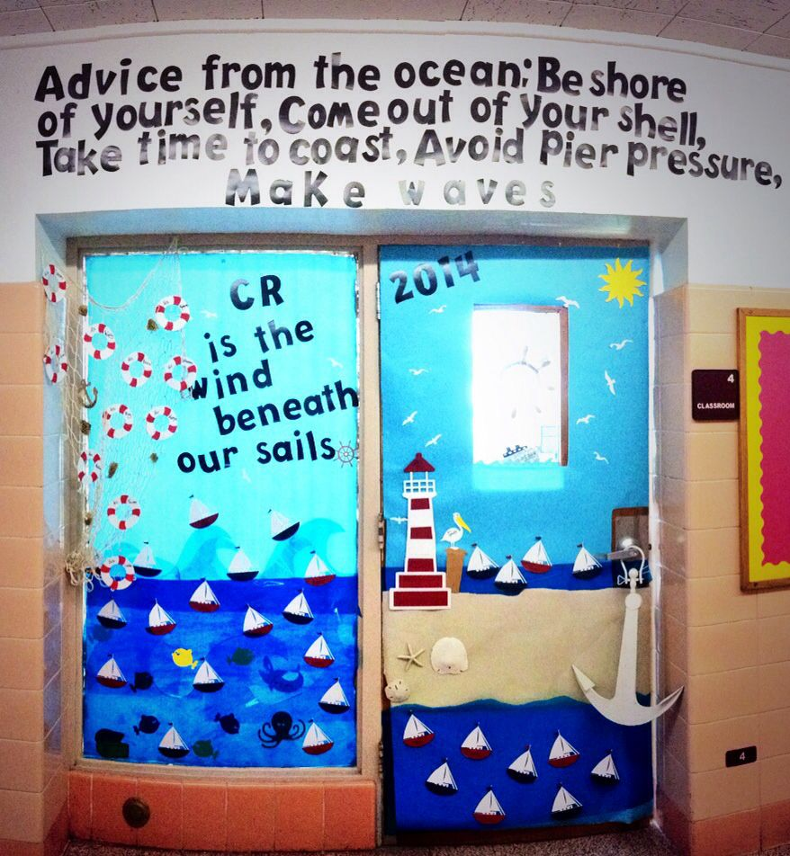 Classroom Bulletin Design : Nautical themed classroom door using quot life is a beach