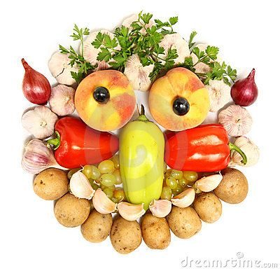 Cheerful Face Made From Fruits And Vegetables | Fruits & Veggie ...