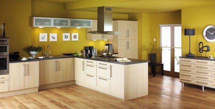 Modern Cream Kitchen Cabinets with Yellow Kitchen Wall Ideas ...