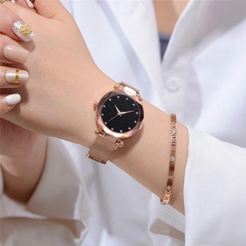 6c7806ac9f771 Relógio Céu Estrelado Importado Pulseira De Imã Aço Novo - R  48