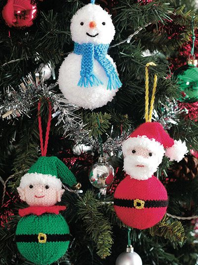Knitting Patterns For Ornaments Santa Elf And Snowman Knitting