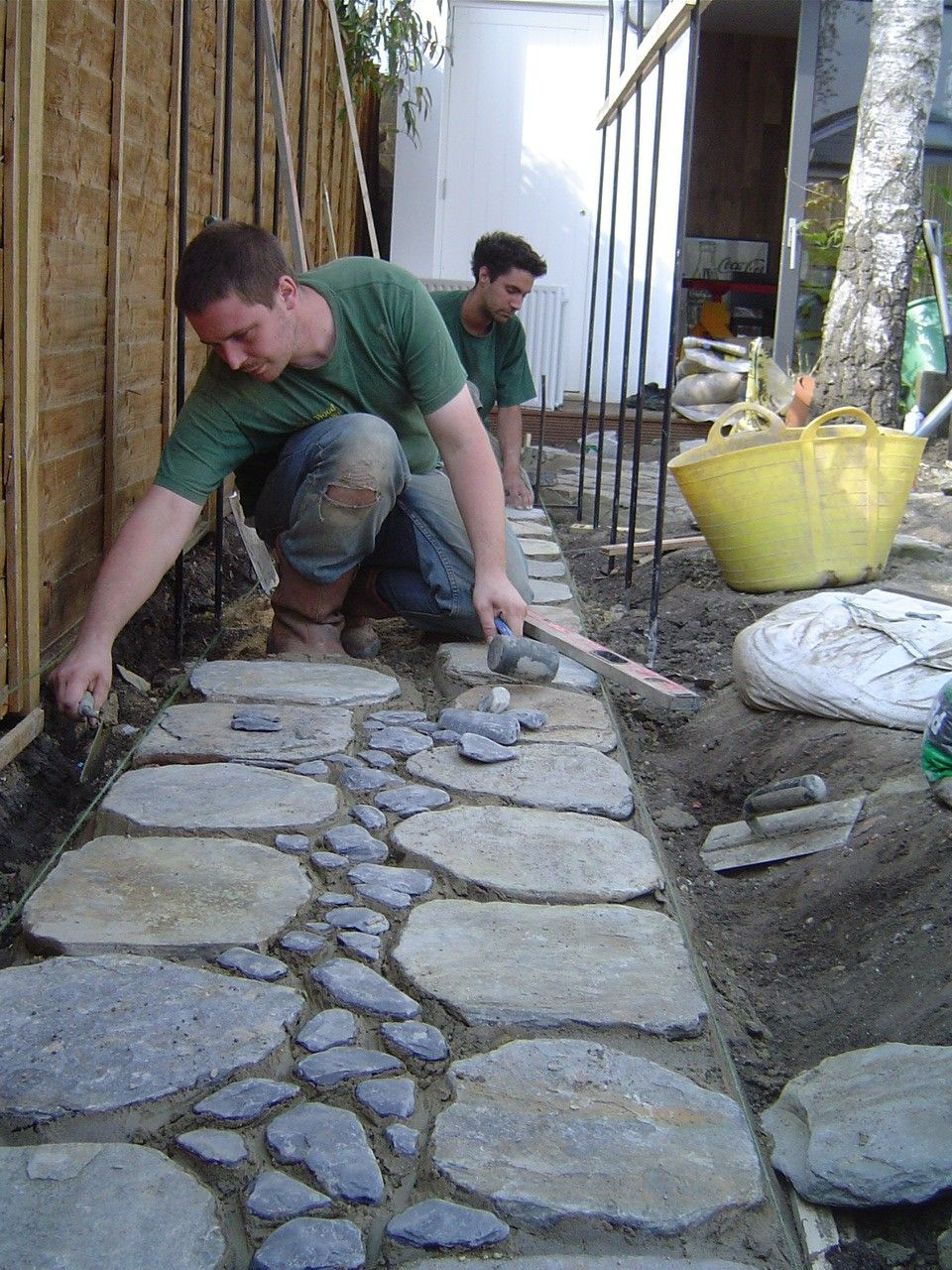 Japanese style path nearing completion #landscaping #gardendesign #garden…