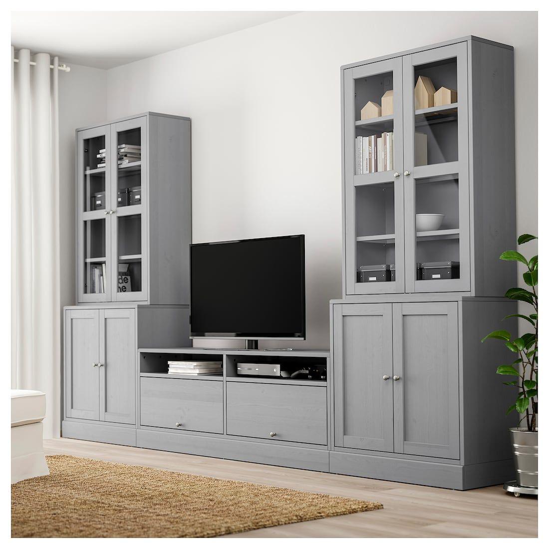 ikea havsta gray tv storage combinationglass doors in