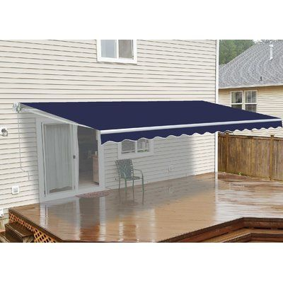 Aleko 10 Ft W X 8 Ft D Fabric Retractable Standard Patio Awning Retractable Awning Door Canopy Polycarbonate Roof Panels