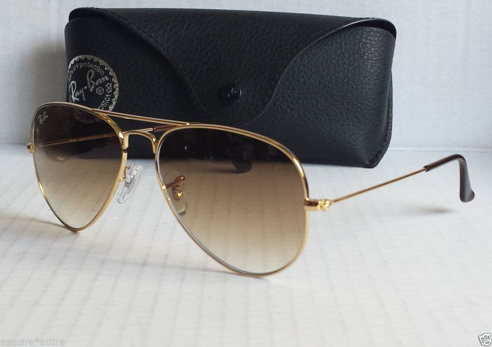 13e6903051 Ray-Ban RB3025 Aviator Large Metal 001 Sunglasses New With Case brown lens  gold
