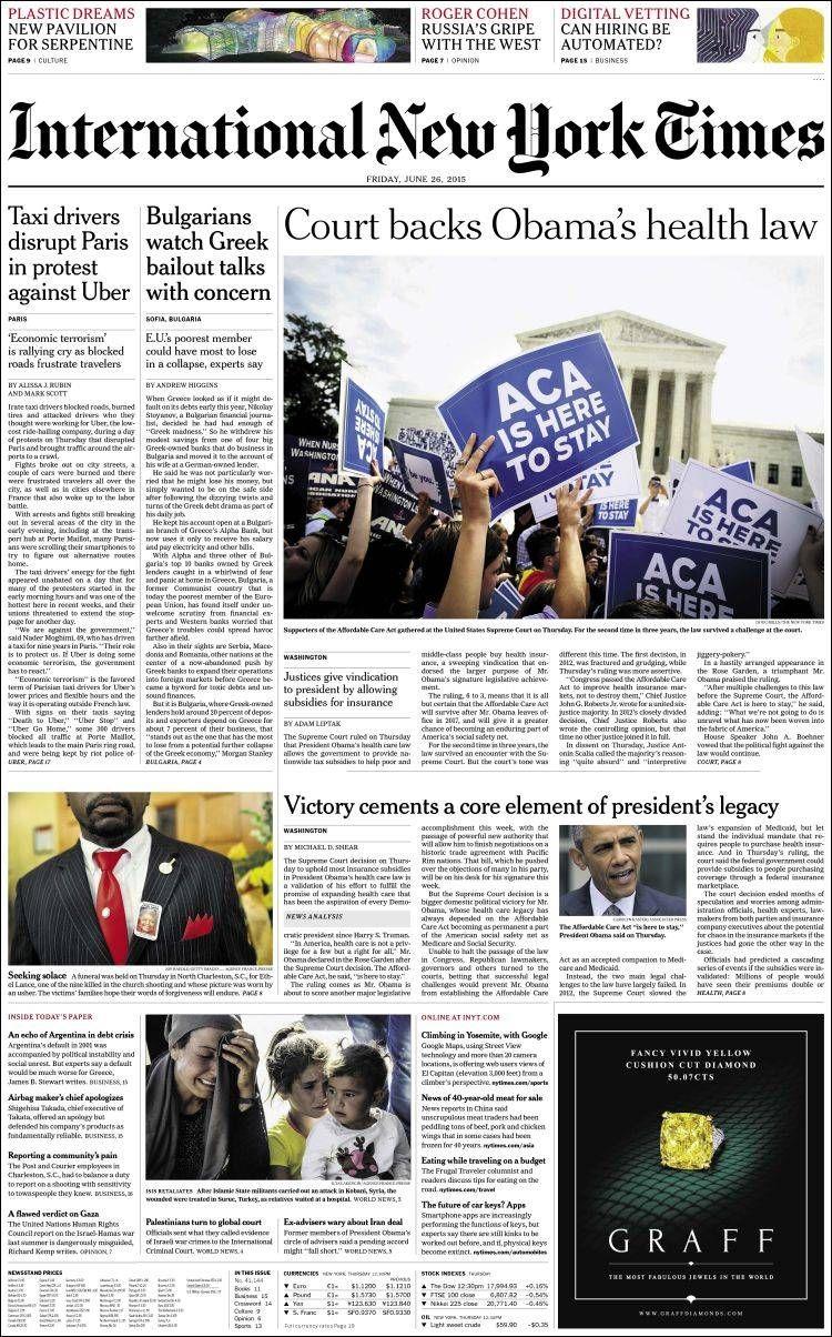 June 26 2015 International New York Times International News
