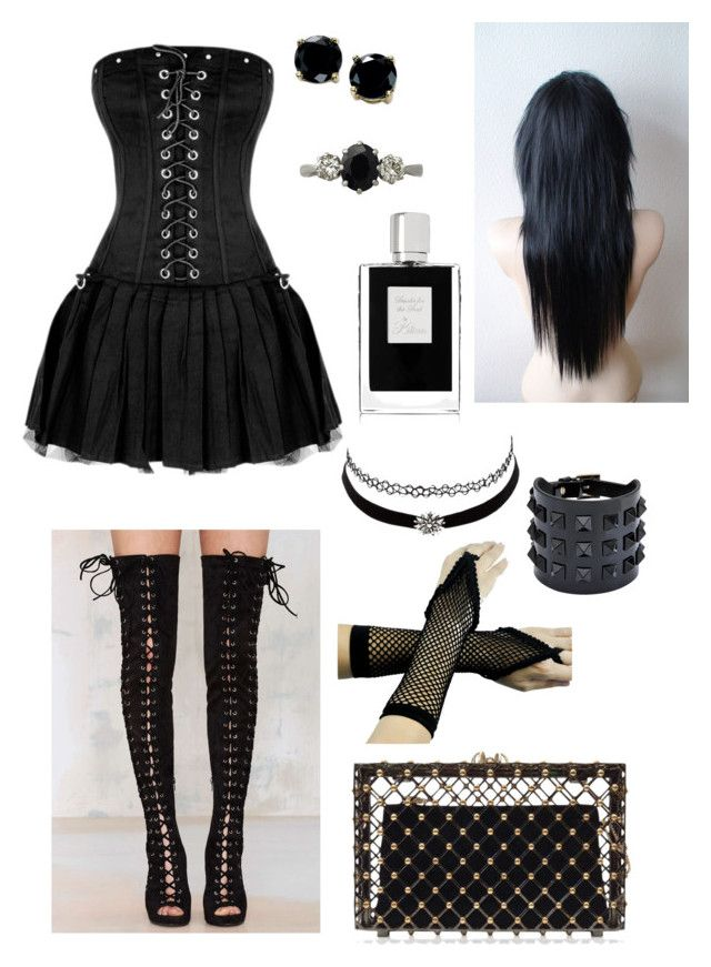Goth Drama by aviva0156 on Polyvore featuring polyvore, fashion, style, Jeffrey Campbell, Charlotte Olympia, Valentino, B. Brilliant, Trilogy, Charlotte Russe and Kilian