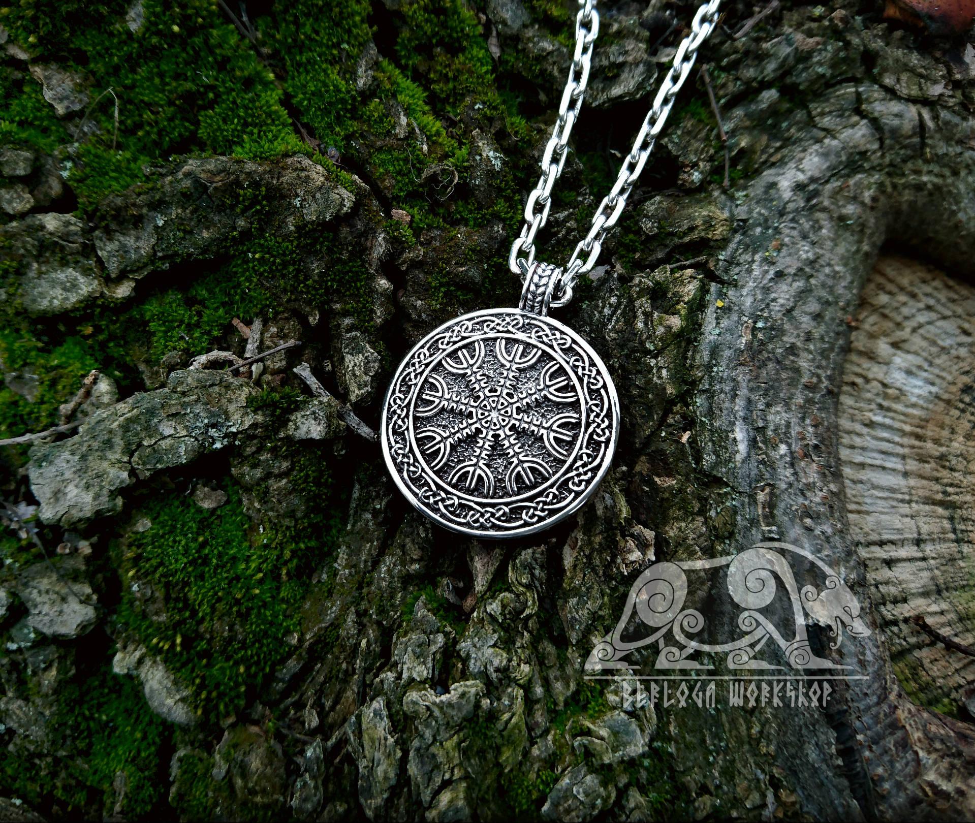 The Helm Of Awe Pendant Aegishjalmur Pendant Viking Pendant Sterling Silver Viking Necklace Scandinavian Norse Viking Jewelry Viking Pendant Viking Necklace Viking Jewelry