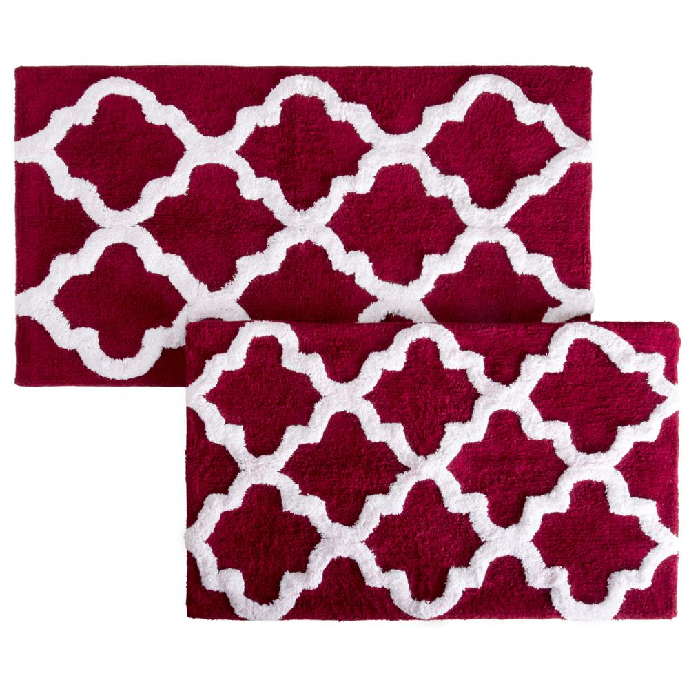 Lavish Home Trellis Burgundy 24 5 In X 41 In 2 Piece Mat Set