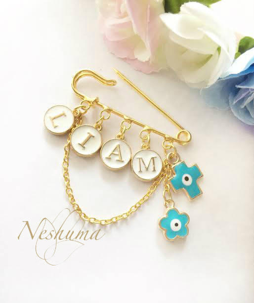 Baby name personalized gift lucky evil eye protection for baby baby name personalized gift lucky evil eye protection for baby christian baby gift christening gift baby pin stroller pin negle Choice Image