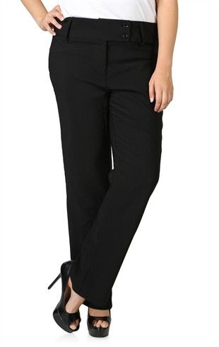 Plus Size Black Flare Dress Pant With Two Button Waist Deb