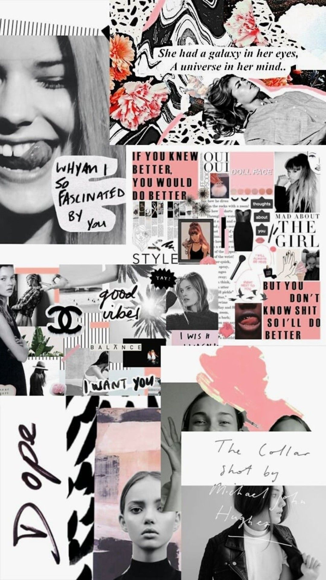 Black White Pink Aesthetic Mood Board Background Wallpaper