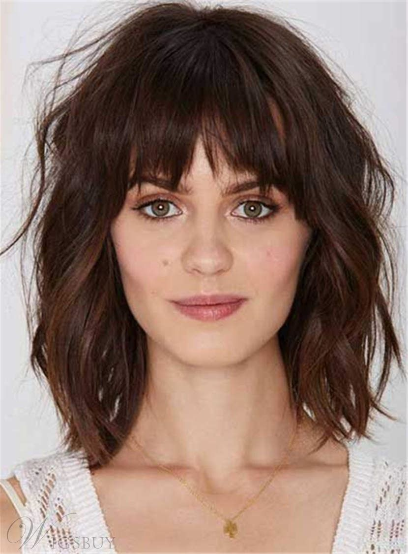 Youthful Shaggy Messy Medium Wavy Synthetic Hair Capless Women Wigs 12 Inches Medium Hair Styles Hair Styles Bangs With Medium Hair