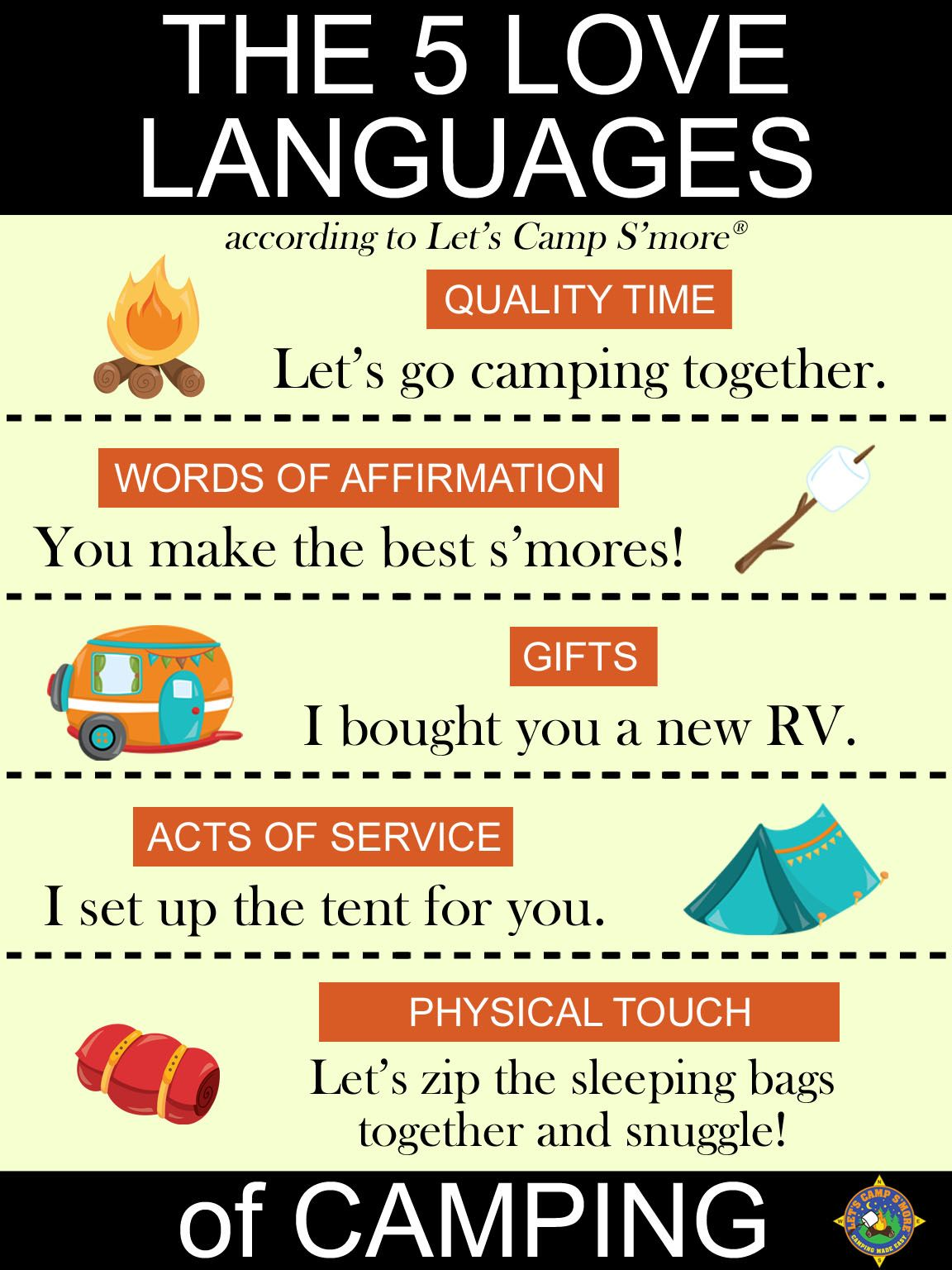 Here Are The Five Love Languages Of Camping What Is Your