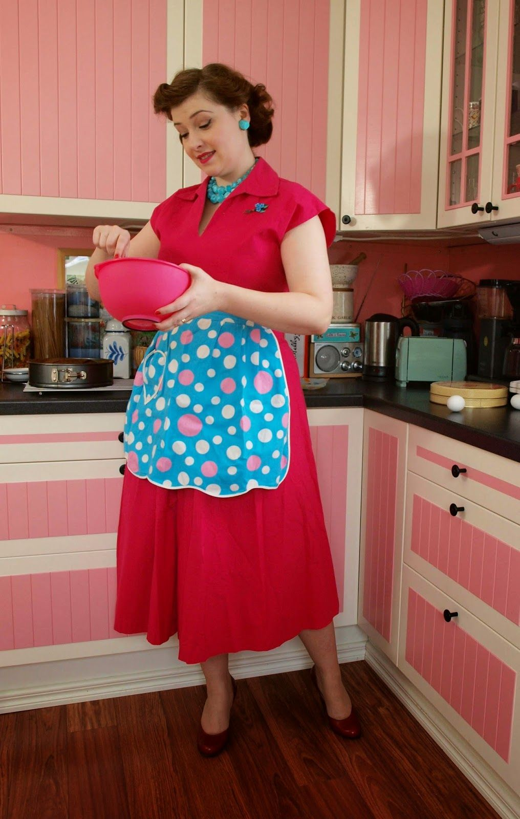 Vintage 50 S Housewife Apron Pink Kitchen Baking Dress Red