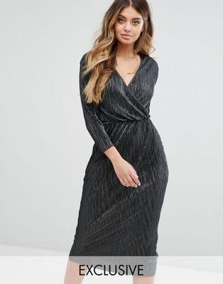 Club L Plisse Wrap Over 3/4 Sleeve Midi Dress