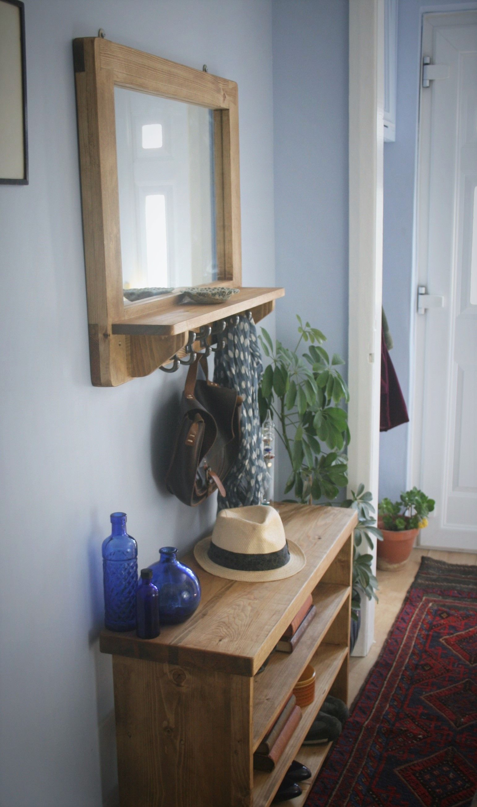 Hallway furniture with mirror  Add some custom handmade modern rustic charm to your hallway with