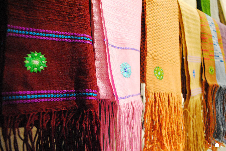 Hanging scarves, Choki Women's Cooperative, Bhutan #Art #Fashion #Choki #Travel