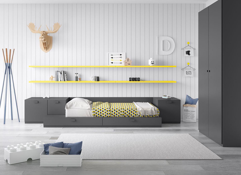 Dormitorio juvenil estilo n rdico grafito antaix - Cama estilo nordico ...
