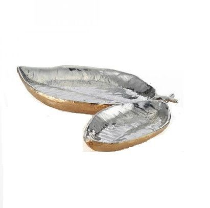 Feather Double Dish Silver/Gold