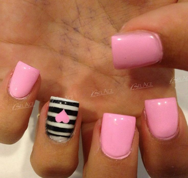 Pink Nails And Black White Stripes