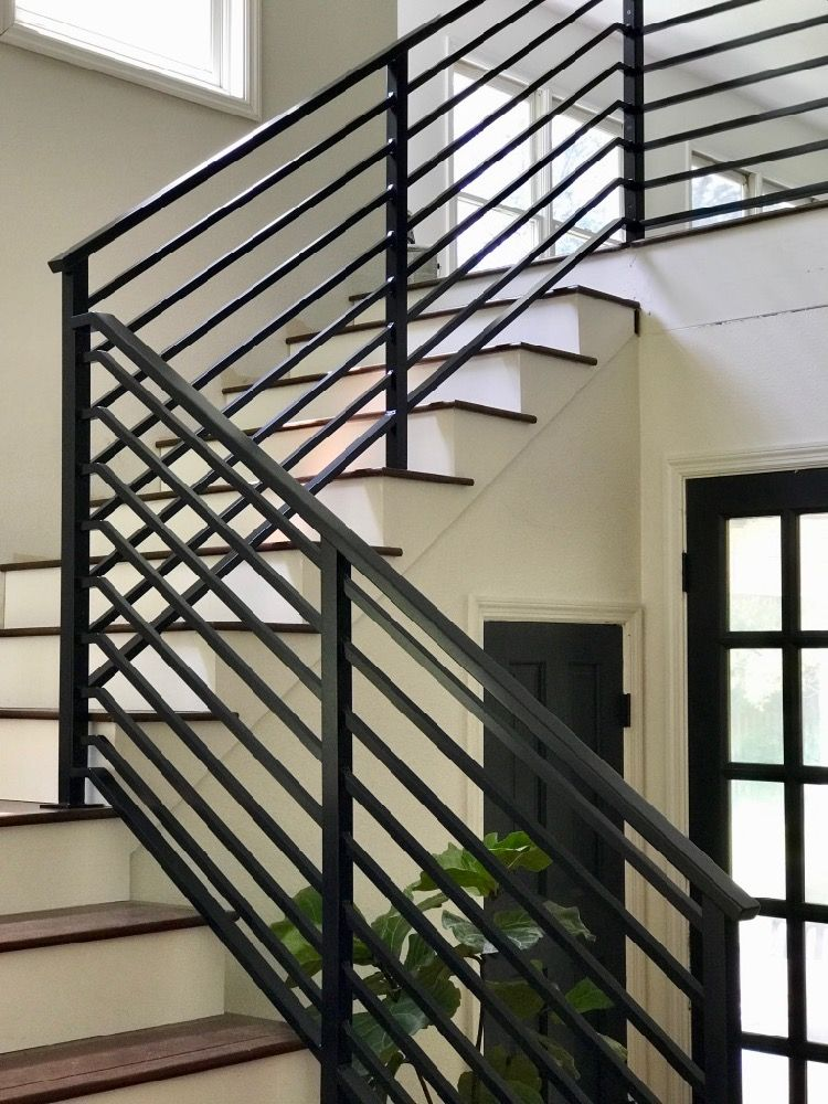 Our Finished Staircase With Horizontal Stair Railing Daly Digs | Black Metal Handrail For Stairs | Rod Iron | Metal Railing | Iron Pipe | Natural Wood | Artistic